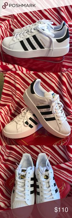 Adidas Superstar Bold Sneakers w 3 stripeNIB 8.5 w Adidas Superstar Bold w 3 stripe Sneakers NIBsz 8.5 womens                  I got these Babies for Christmas and haven't had a chance to exchange them yet.  ✨they run half a size big.  I tried them on. Too big. Immediately took them off. So , no, they were never, @walked around in. Usually sold out , like everywhere.  These aren't the usual old school pair.  They are a tad platform. They match everythinggg Way  cool. Grab em     ❤️Women's…