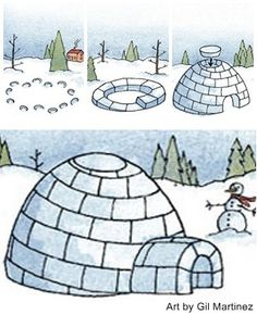 How to Build an igloo in 10 steps. To mark out an area for your igloo, lie down and make a snow angel (the inside diameter of the igloo). By B.J. Roche, Yankee Magazine.