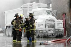 "Cold sets in - Chicago Fire might be a great TV show - but the real deal are even more amazing.  ""A truck is encased in ice as Chicago firefighters battle a warehouse fire in the 1900 block of 1945 N. Latrobe St."" (4:45 pm, January 3, 2014) Chris Walker, Chicago Tribune - Chicago Tribune - Front Page - Winter in Chicago"