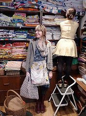 Dotty Angel in an amazing store in London full of old vintage linens. Heaven.