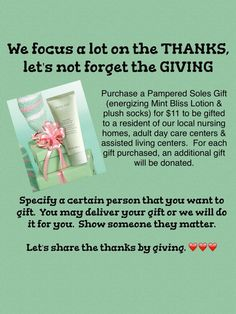 What a great gift for those in nursing homes, teachers, friends, and family. You order, I'll create and deliver or ship to you. Or order and you create.  Only $11.00 for mint bliss and plush socks.  Marykay.com/katherinejwilliams or call 817-235-8548