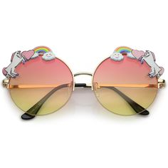 Buy Unicorn Rainbow Semi Rimless Gradient Colored Round Lens Sunglasses - Gold / Orange Yellow - and Largest Selection of Designer Sunglasses at Best Prices. Round Lens Sunglasses, Cute Sunglasses, Festival Sunglasses, Sunnies, Indie Festival, Mode Hippie, Unicorn Fashion, Unicorn Rooms, Cute Unicorn