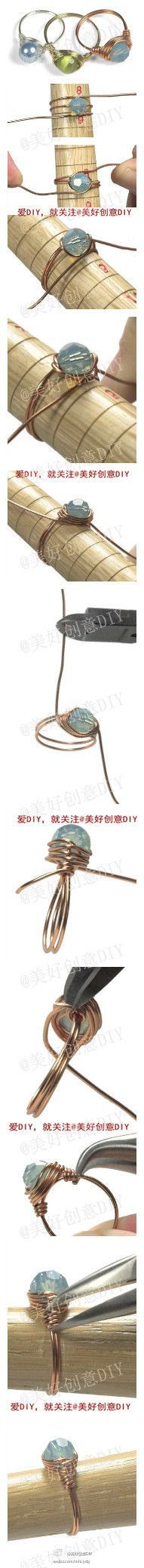 Wire-wrapped ring tutorial:  I can't read the instructions, but the pictures are very helpful.