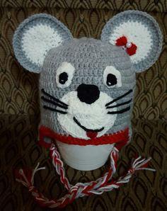 mouse crochet hat, caciula crosetata soricel
