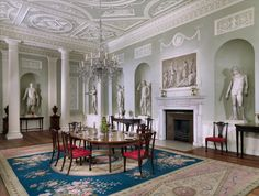 After a design by Robert Adam (British Plaster ceiling by Joseph Rose woodwork carved by John Gilbert, marble chimneypiece supplied by John Devall & Co. Dining room from Lansdowne House, The Metropolitan Museum of Art, New York. Architecture Details, Interior Architecture, Historic Architecture, Kenwood House, Harewood House, Mayfair, Interior Decorating, Interior Design, Interior Paint
