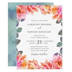 Watercolor Blush Pink Roses Elegant Floral Wedding Invitations Modern Template. Classy and beautiful, feature beautiful watercolor pink roses and green leaves on white background. Great for inviting your guests to your wedding celebration. Great for all wedding parties, garden, tropical, beach, destination, country, rustic, vintage, summer, fall, winter and spring! On the back you can choose between image background or use any solid background color you like! Elegant Invitations, Modern Wedding Invitations, Floral Invitation, Floral Wedding Invitations, Wedding Stationary, Invitation Templates, Wedding Dj, Rose Wedding, Wedding Cards