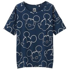 UNIQLO Women Disney Project Short Sleeve Graphic T-Shirt ($20) ❤ liked on Polyvore featuring tops, t-shirts, navy, cotton t shirts, navy blue tee, navy t shirt, blue cotton t shirts and short sleeve graphic tees