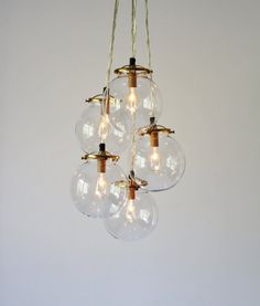 Glass Globe Cluster Chandelier 5 Clear Hanging Orb by BootsNGus