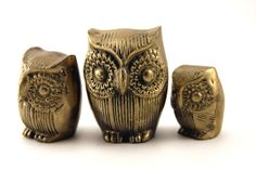 Mid century decor brass owl trio in solid brass. #brass #decor.