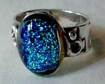 Pretty PMC ring with fused glass bead