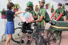 Airon Santos, Jonathan Alves e Hugo Gomes são sócios da EcoLivery, empresa do ramo inaugurada em fevereiro deste ano. Foto: Nando Chiappetta/DP/D.A Press