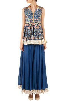 SONALI GUPTA Blue embroidered kurta with sharara