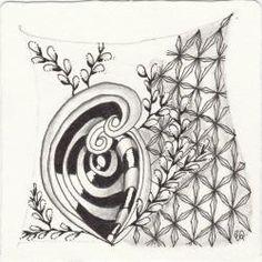 Ein Zentangle aus den Mustern Cat-Kin, Trio, Japan Diamant, gezeichnet von Ela Rieger, CZT