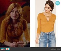 Clary Fray Fashion on Shadowhunters Clary Fray Style, Clary Fray Outfit, Tv Show Outfits, Fandom Outfits, Cute Outfits, Fashion Tv, Fashion Outfits, Shadowhunters Outfit, Yellow Lace
