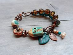 Hey, I found this really awesome Etsy listing at https://www.etsy.com/listing/196447670/stacked-beaded-bracelet-ceramic-leaf