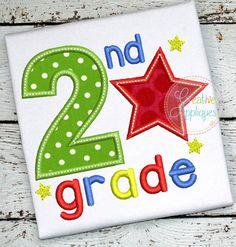 2nd Grade Star Applique $ REPIN THIS then click here: https://creativeappliques.com/