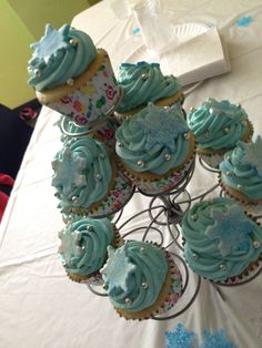 Ellie's frozen theme cupcakes with whippedwhite chocolate ganache for icing. October   2014.