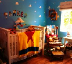 Dreaming of a Disney-themed room for your soon-to-be little one? This Toy Story themed nursery is adorable.