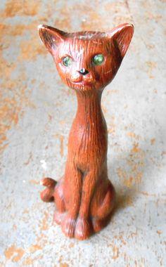 Vintage Figurine Cat Brown Fake Wood Rhinestone by TheBackShak, $11.50