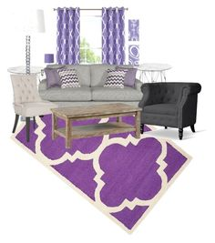 """Perplexed Purple"" by bryana-caldwell ❤ liked on Polyvore featuring interior, interiors, interior design, home, home decor, interior decorating, Safavieh, Elrene Home Fashions, Baxton Studio and livingroom"