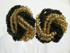 """#Vintage #Earrings Black Gold Seed Bead Button Pierced 1"""" estate small #fashion…"""