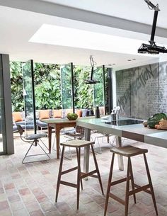 Sutherland Place - We love this green living design and those beautiful floors! Brick Interior, Interior Windows, Interior And Exterior, Pretty Things, Brick Flooring, Interior Decorating, Interior Design, House Windows, Loft