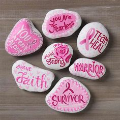 Easy Painted Rocks That Are Fun to Make & Tips! - Mod Podge Rocks Promote random acts of kindness with beautiful painted rocks! Get inspired by these 10 projects. How will you decorate your rocks to be found? Rock Painting Patterns, Rock Painting Ideas Easy, Rock Painting Designs, Diy Painting, Stone Painting, Painting Videos, Paint Ideas, Breast Cancer Crafts, Breast Cancer Art