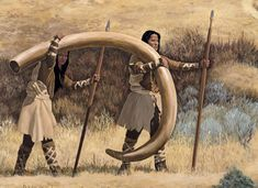 Mammoths and Mastodons were hunted by Ice Age American Hunters called Clovis Indians.