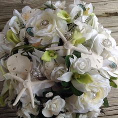 Seashell Bling Bridal Bouquet with Garden by VictoriaGreenFlowers, $89.95