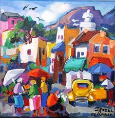 Cape Reflections Flower Collage, Cottage Art, South African Artists, Z Arts, Landscape Paintings, Landscapes, Rue, Whimsical, Abstract Art