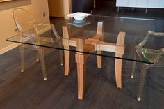 Glass Top Dining Table - This table can be customized with glass or acrylic top, and different base designs. Glass Dining Table Designs, Glass Dinning Table, Dining Room Table, Glass Furniture, Custom Furniture, Table Furniture, Furniture Design, Esstisch Design, Sweet Home