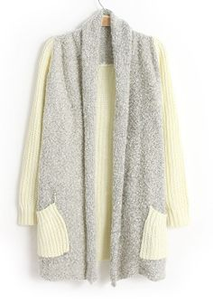 Beige Shawl Collar Long Sleeve Pockets Cardigan - Sheinside.com. $24. Great site for sweaters!