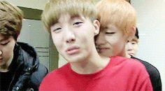 J-hope trying to stop crying while V comforts him.... sooooo cute