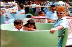 Lucille Ball & her children Desi Arnaz jr & Lucie Arnaz on a ride at Disneyland 1950s