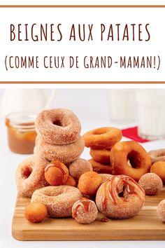 Des beignes aux patates comme ceux de grand-maman: réconfort absolu! Beignets, Doughnuts, Soul Food, Comme, Caramel, Pancakes, Table, Desserts, Christmas