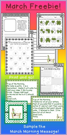 "This freebie contains reading, writing, and math activities.  Plus a sample of the March Morning Message! Your students will love editing the letters written to them by the ""pesky"" leprechaun!"