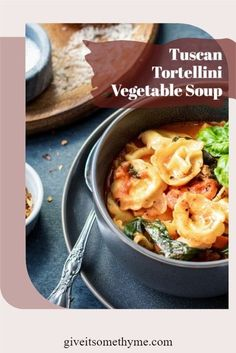 Tuscan Tortellini Vegetable Soup - giveitsomethyme.com – an easy and hearty soup loaded with cheesy tortellini, San Marzano tomatoes, white beans, spinach, zucchini, carrots and turkey sausage! #tuscantortellinivegetablesoup #tortellinivegetablesoup #tuscantortellinisoup #tuscantortellinistew #tortellinisoup #tortellinistew #sausagetortellinisoup #onepotrecipes #fallrecipes #giveitsomethyme