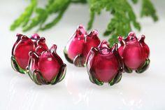 Lampwork flower bead pink mini 12mm, rubino oro, sra