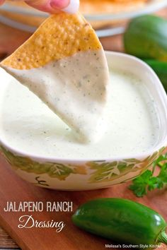 This creamy jalapeno ranch dressing is inspired by the luscious ranch dip at Chuy's. It's fabulous served as a dip, dressing, drizzled on nachos or for dipping taquitos or quesadillas. If you've never heard of Chuy's it's a famous Tex-Mex restaurant th Carnitas, Appetizer Dips, Appetizer Recipes, Jalapeno Ranch Dressing, Jalapeno Ranch Dip, Jalapeno Sauce, Jalapeno Recipes, Melissas Southern Style Kitchen, Salad Dressing Recipes