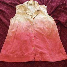 CUSTOM OMBRÉ DENIM TOP Pinkish color to white Cherokee Tops
