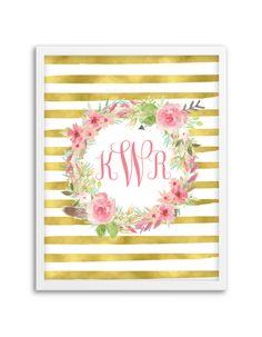 Floral Wreath Striped Monogram