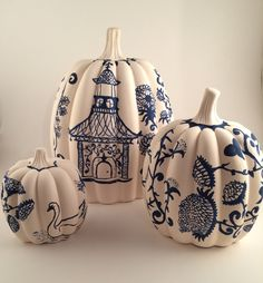 Blue & White 8 1/2 Ceramic Chinoiserie Pumpkin by CatsCovers