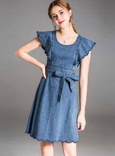 Blue Street Falbala Denim Bowknot Skater Dress Denim Outfit For Women, Womens Denim Dress, Clothes For Women, Kurti Neck Designs, Blouse Designs, Play Dress, I Dress, Pretty Outfits, Pretty Dresses