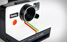 A rainbow polaroid camera!