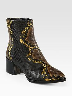 B Brian Atwood Snake-Print Leather and Patent Leather Ankle Boots