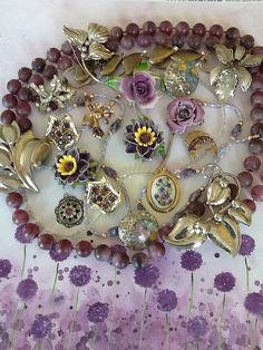 Destash Craft Lot Bridal Bouquet Purple Amethyst by QuiltsETC, $44.99