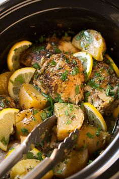 An easy and hearty slow cooker lemon chicken and potato recipe! So tender and full of bright flavors. Perfect for busy weekdays.