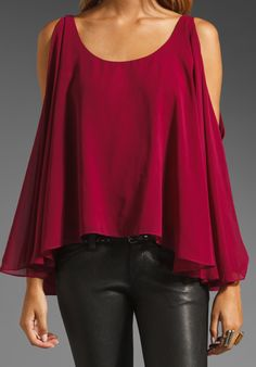 JAY GODFREY Belfour Silk Chiffon Open Shoulder Blouse in Oxblood at Revolve Clothing - Free Shipping!