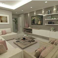 Light pink and beige living room