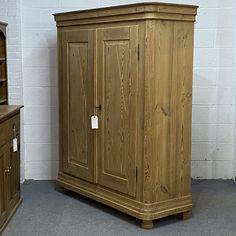 Large Double Antique Pine Wardrobe (Dismantles) (F7604F) A Shelf, Shelves, Antique Pine Furniture, Pine Wardrobe, Hanging Rail, Stairways, Warehouse, Antiques, Wood